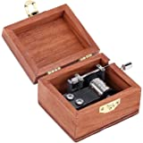 Walmeck Retro Wooden Musical Box Hand Crank Music Box Exquisite Workmanship 4 Patterns for Option (Bunny, Always with You) (1pc)