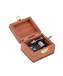 Walmeck Retro Wooden Musical Box Hand Crank Music Box Exquisite Workmanship 4 Patterns for Option (Bunny, Always with You)