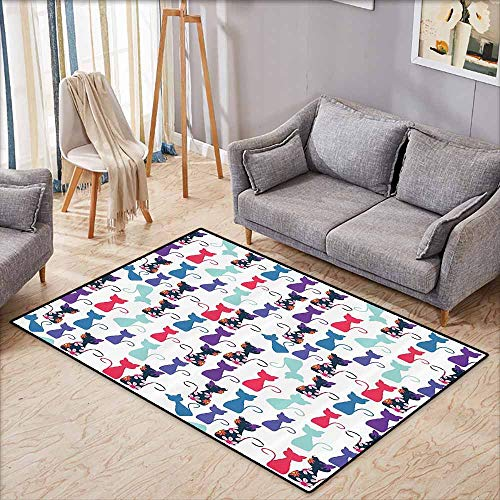 Kids Rug,Cat Print Decorations,Baby Animals in Colors with Flowers Pattern,Ideal Gift for Children,3'11