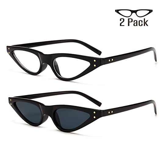 3d7d517e7d Bedis 2 Pack Cat Eye Sunglasses For Women Retro Small Designer Eyeglasses  BD211 (Black clear