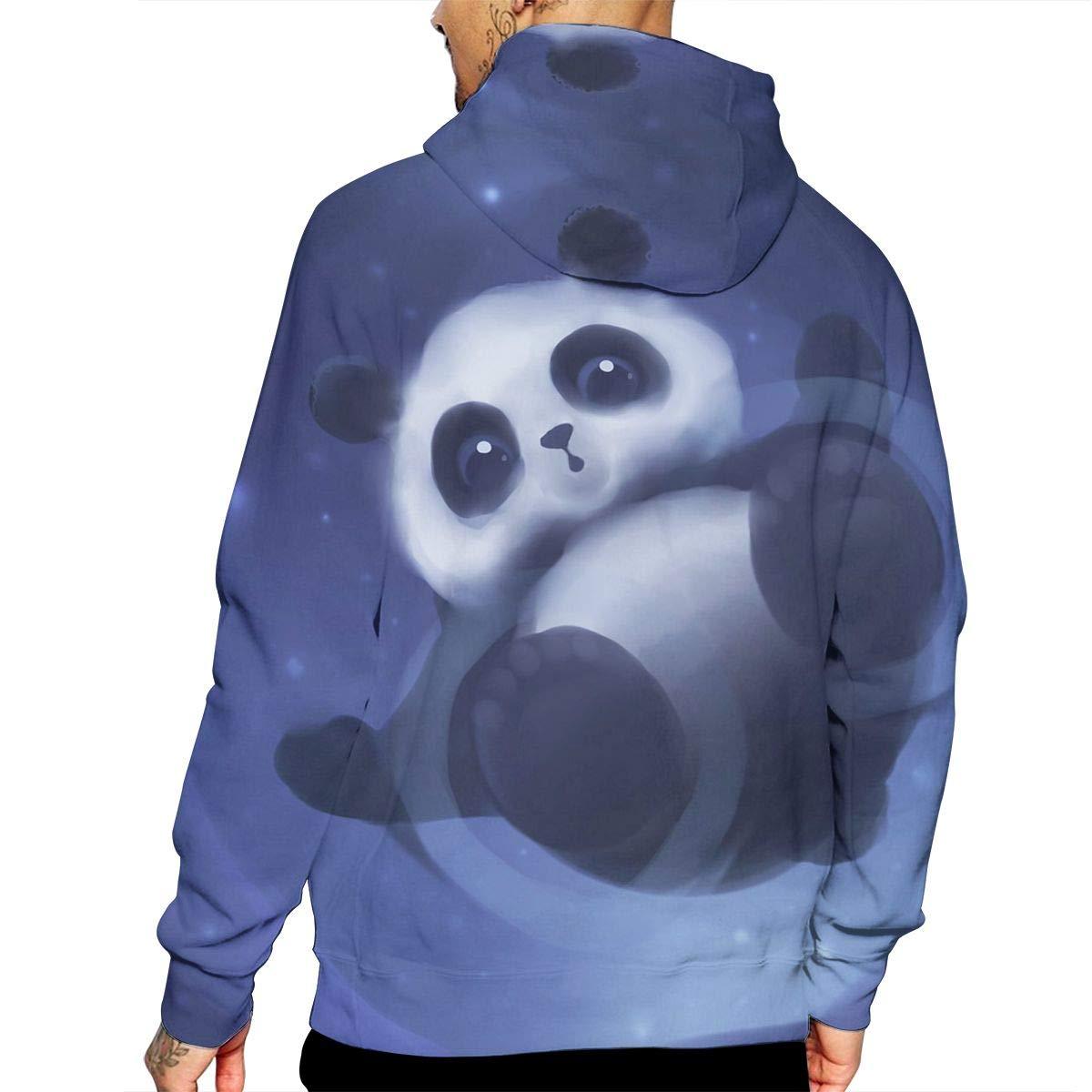 YUANSHAN Cute Panda Bear Platinum Style Mans Long Sleeve Hoodie Casual Pocket Hooded Sweatshirt