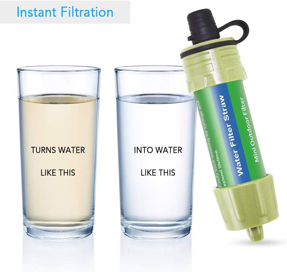 Lixada Wasserfilter Strohhalm mit 5000 l Filtration 0,01 Mikron Purifier Survival Gear f/ür Wandern Camping Notfall Herren Reisen gr/ün