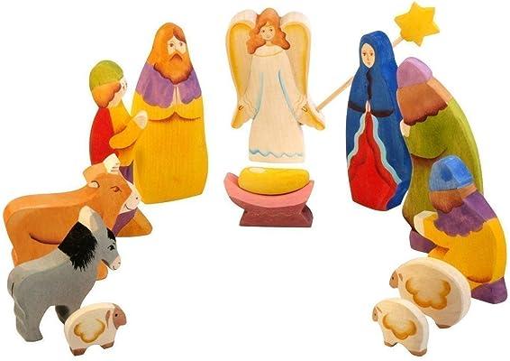 Christmas Nativity Set Jesus, Joseph, Mary, Shepherds, Animals - Set of 12 Nativity Holy Family Figurines - Waldorf Toy