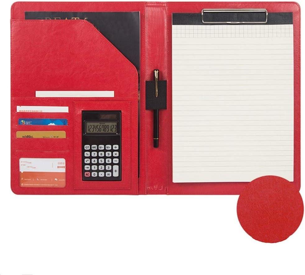 Yzibei Organizador de Carpetas de Documentos Combinación Anillo De La Carpeta De Negocios Carpeta De Cuero De La PU De La Carpeta De La Cremallera Profesional De Negocios Entrevista para Tableta iPad