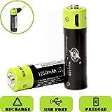 SOEKAVIA 1250mAh AA Polymerisat-LithiumAkkus Wiederaufladbare Akkus USB-Laden Akkus mit USB-Kabel (schwarz + grün)-2 Pcs