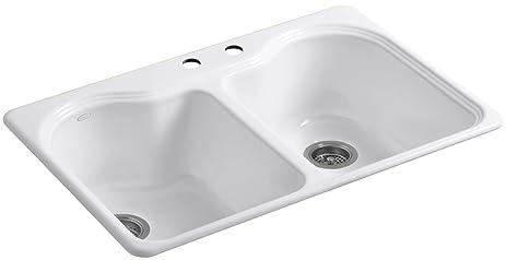 Kohler K-5818-2-0 Hartland Self-Rimming Kitchen Sink with Two-Hole ...
