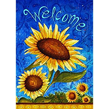 Toland   Sweet Sunflowers   Decorative Double Sided Welcome Summer Blue  USA Produced Garden Flag