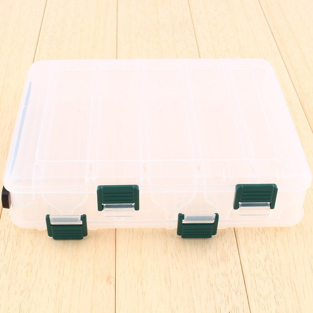 Doppelst/öckige Multifunktions-Aufbewahrungsbox transparent f/ür Wirbel Spinnrolle Bleie Perle Angelnzubeh/ör 12 f/ächer