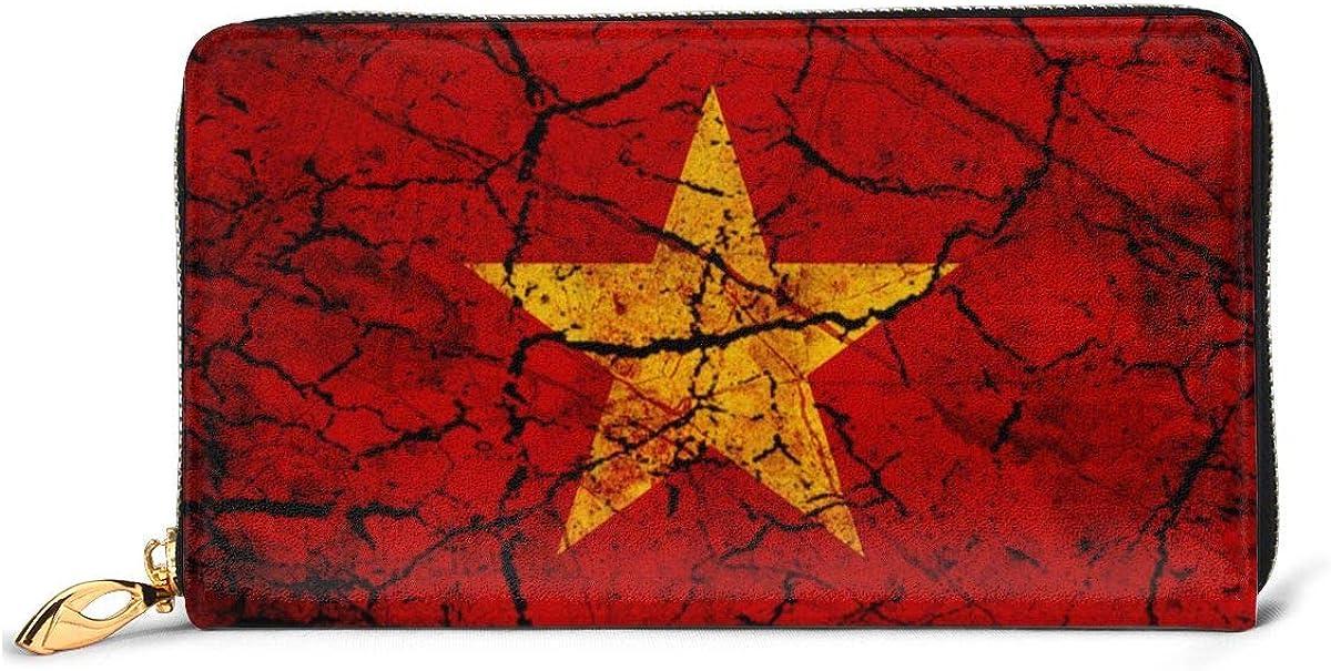 Vintage Vietnam Flag Womens RFID Blocking Zip Around Wallet Genuine Leather Clutch Long Card Holder Organizer Wallets Large Travel Purse