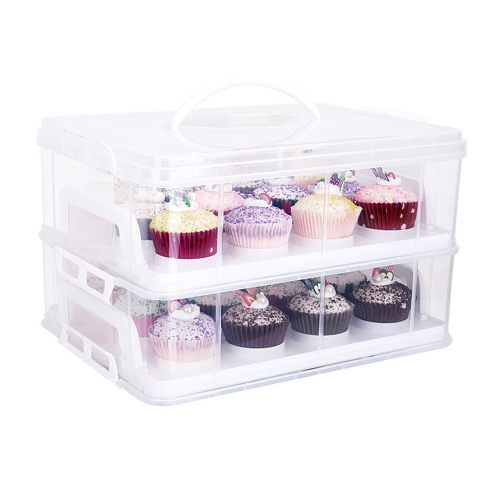 2 Tiers Cupcake Carriers Box Adjustable Snap and Stack Caddy Holder Container(White) HBlife