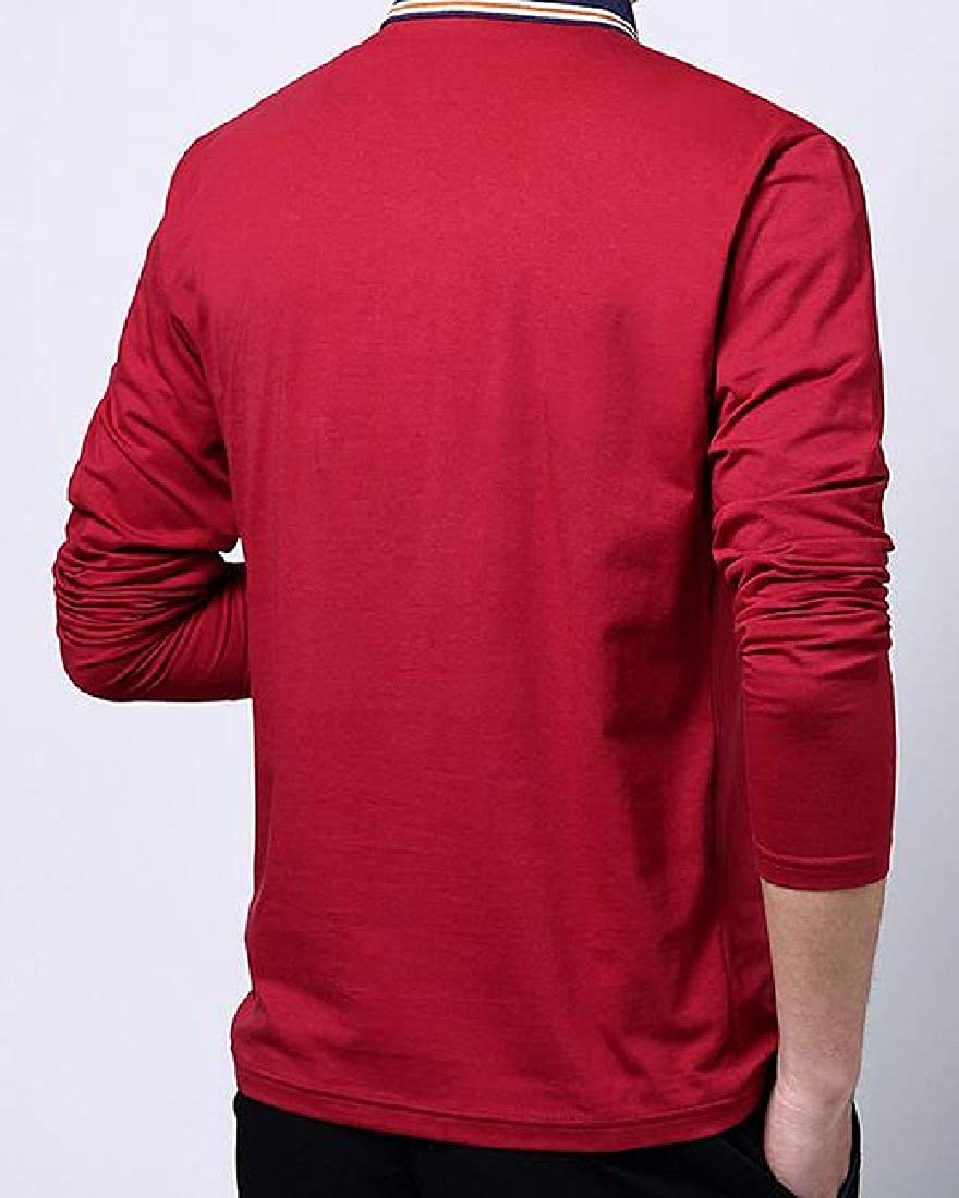 Wofupowga Mens Polos Lapel Short Sleeve Workwear Color Block Summer T-Shirt Top