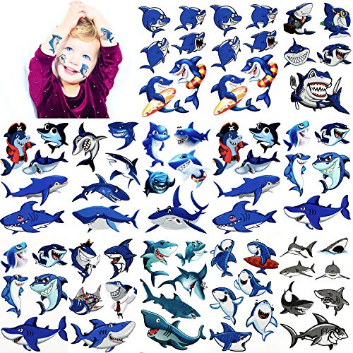 216 Pieces Shark Temporary Tattoos Shark Tattoo Body Stickers Ocean Series Temporary Tattoos for Shark Themed Baby Shower Birthday Party Decoration, 54 -