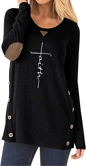 AELSON Womens Casual Faith Printed Round Neck Sweatshirt T-Shirts Tops Blouse with Pocket