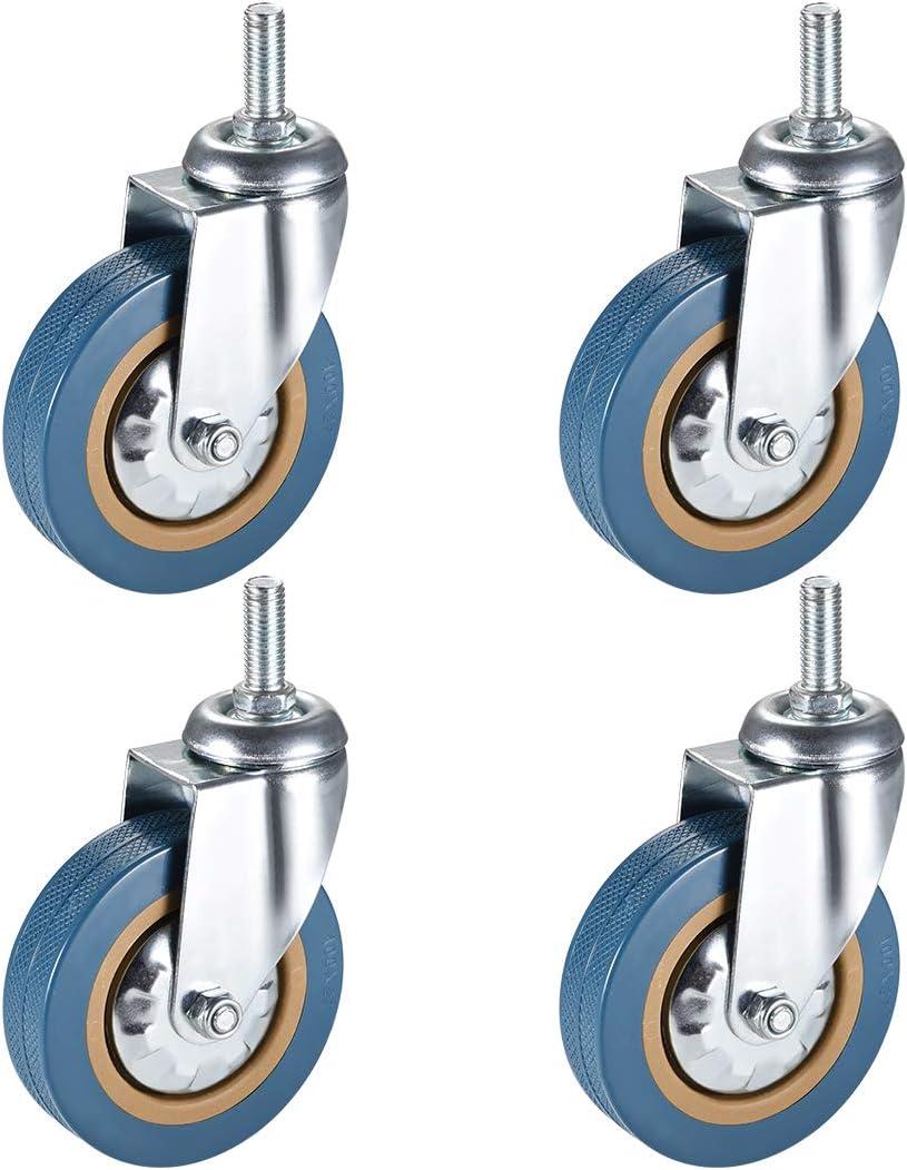 sourcing map Roulettes pivotantes roues pivotantes M X Mm tige filet/ée Livre 3Pouces avec Frein 4Pcs