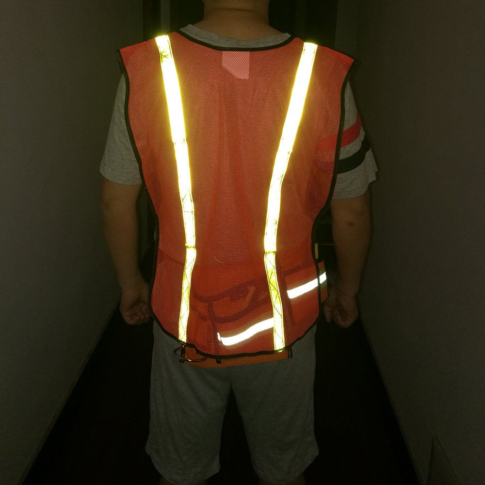 High Visibility Safety Vests 10 Packs,Adjustable Size,Lightweight Mesh Fabric, Wholesale Reflective Vest for Outdoor Works, Cycling, Jogging, Walking,Sports - Fits for Men and Women (Neon Orange) by zojo (Image #8)
