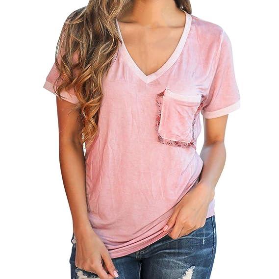 Mujer Blusa verano,Sonnena ❤ ❤ Talla grande extra Suelto blusa manga corta
