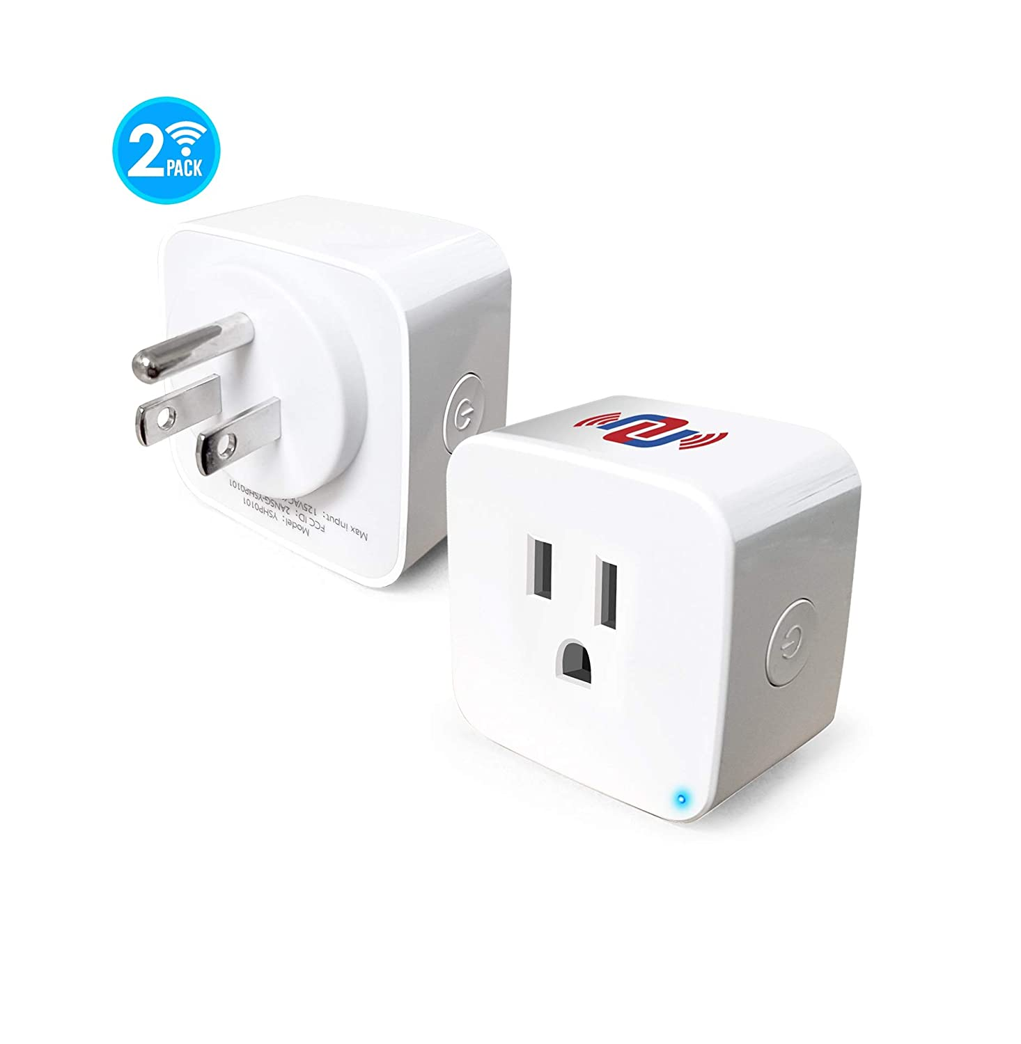 NUNET Smart WiFi Plug 2 Packs 10A Mini Smart Outlet with Energy Monitor, Work with Amazon Alexa, Google Home, No Hub Required, Support High Power Appliances, Remote Control and Timing Functions (Pair)