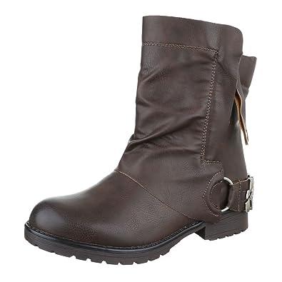Ital-Design Boots/Bikerboots Damen Schuhe Biker Boots Blockabsatz  Blockabsatz Reißverschluss Stiefeletten Braun,