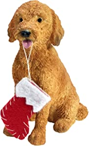 Sandicast Goldendoodle with Stocking Christmas Ornament, Multi Color (XSO24201)