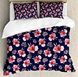 Watercolor Duvet Cover Set Queen Size by Ambesonne, Nature Inspired Composition with Pink Garden Flora Vintage Artistic Petals, Decorative 3 Piece Bedding Set with 2 Pillow Shams, Navy Blue Coral