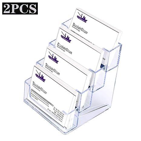 Btsky 2 Pcs Acrylique Business Card Holders 4 Pocket Bureau Effacer Carte De Visite Stands