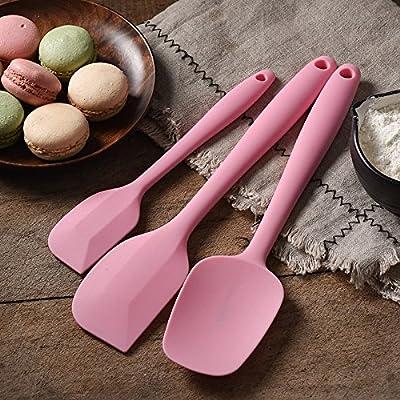 Accessoires de cuisine ZXY ZXY le silicone grattoir pelle trois pièce boulangerie outil couteau à beurre gâteau spatule mélange poignard,pink trois morceaux