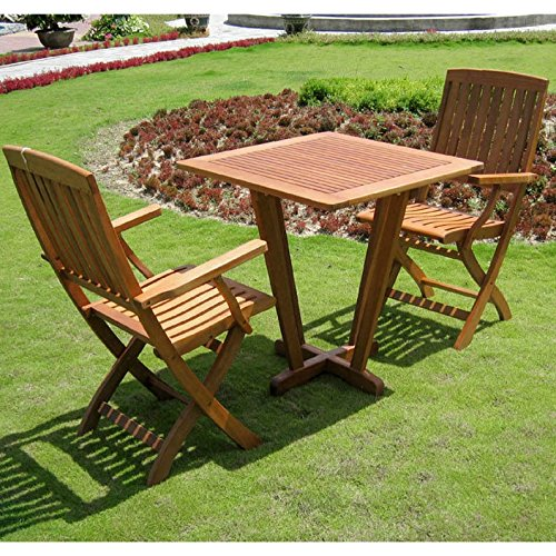International Caravan Royal Tahiti Milan 3 Piece Square Patio Bistro Set in Stain