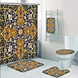 5-Piece Bath Set Hotel Collection with Bath Rug, Shower Curtain, and Bath Towel, Detailed Arabic Islamic Floral Mosaic Patterns Eastern Antique Oriental Persian Artwork Decorate The Bath