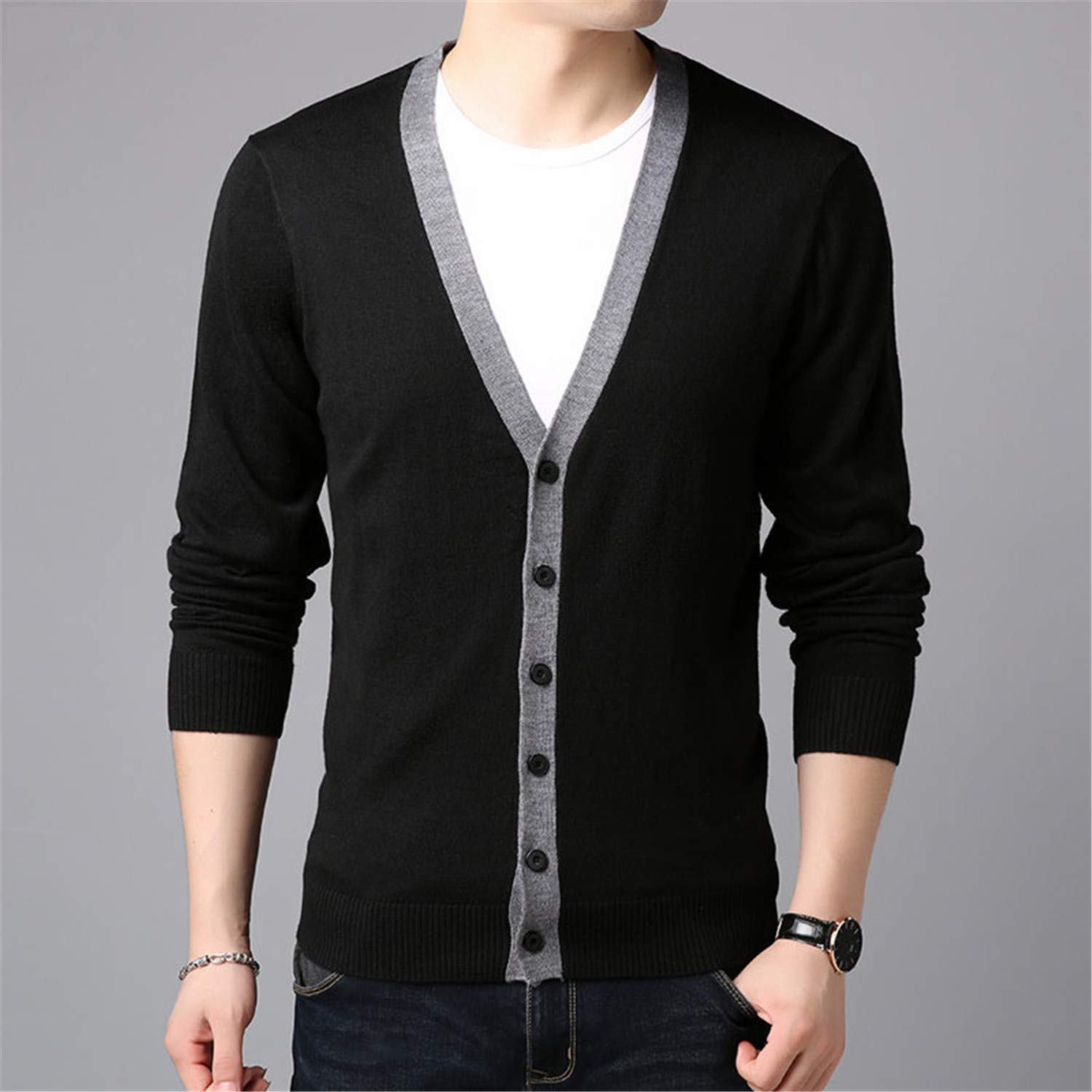 Cyose Fashion Sweater Men Casual V-Neck CardiganKnitted Cashmere Wool Mens Sweaters