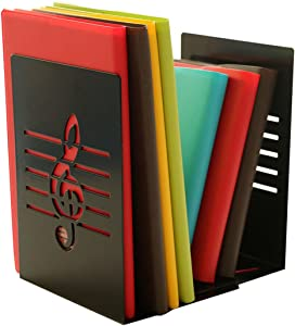 Winterworm A Pair of Fashion Creative Music Note Solid Metal Book Stand Bookends for Kids Music Lover Home Office Decoration (Black)