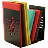 A Pair of Fashion Creative Music Note Solid Metal Book Stand Bookends For Kids Music Lover Home Office Decoration (Black)