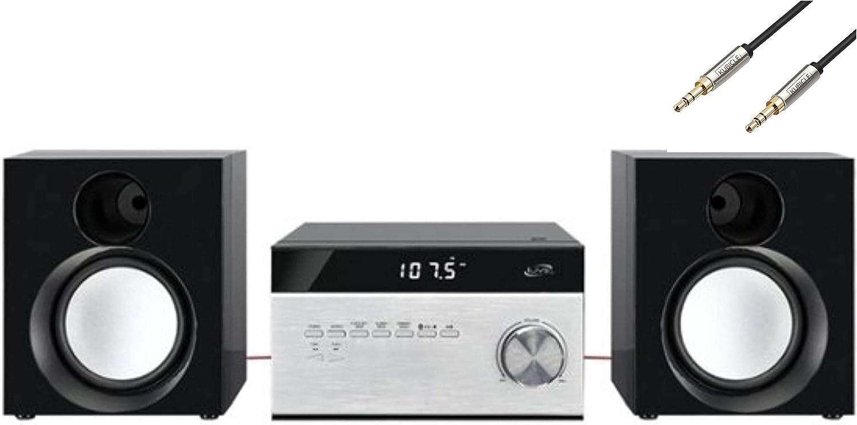iLive Desktop Hi-Fi Home Audio Cd Player & Digital AM/FM Radio Stereo Sound System Plus 6ft Kubicle Aux Cable Bundle