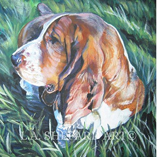 A Basset Hound dog art portrait print of an LA Shepard painting 12x12