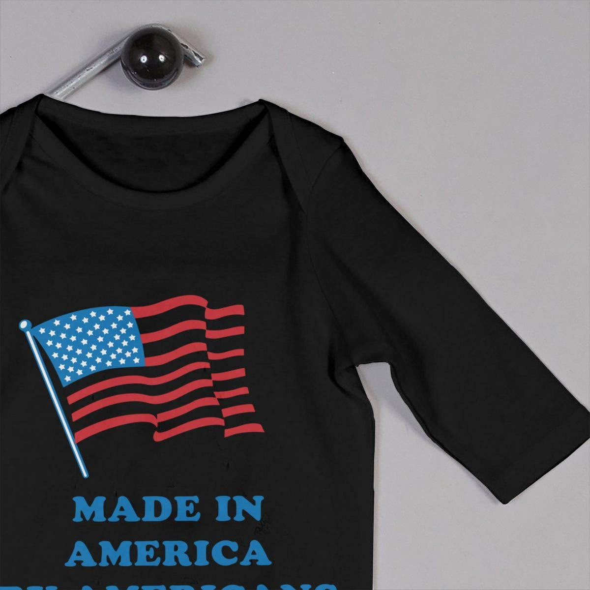 Cute Made in America Crawler Long Sleeve Cotton Bodysuit for Unisex Baby