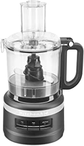 KitchenAid 7 Cup Working Bowl 3 Speed Food Processor for Chop, Pulse, and Puree, Black Matte (Renewed)