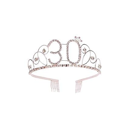Frcolor Corona Cumpleaños 30 Años Diadema Cumpleaños Mujer Tiara Cristal con Peines (Oro Rosa)