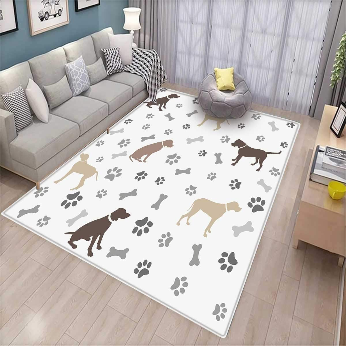 Paw Print Bones and Dog Silhouettes American Foxhound Breed Playful Pattern Full Size Umber Beige Soft Decorative Fabric Bedding All-Round Elastic Pocket Ambesonne Dog Lover Fitted Sheet