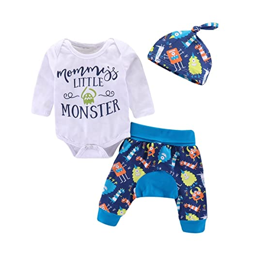 742afce5a Amazon.com  Baby Boy Long Sleeve Letter Print Romper+Cartoon Animal ...