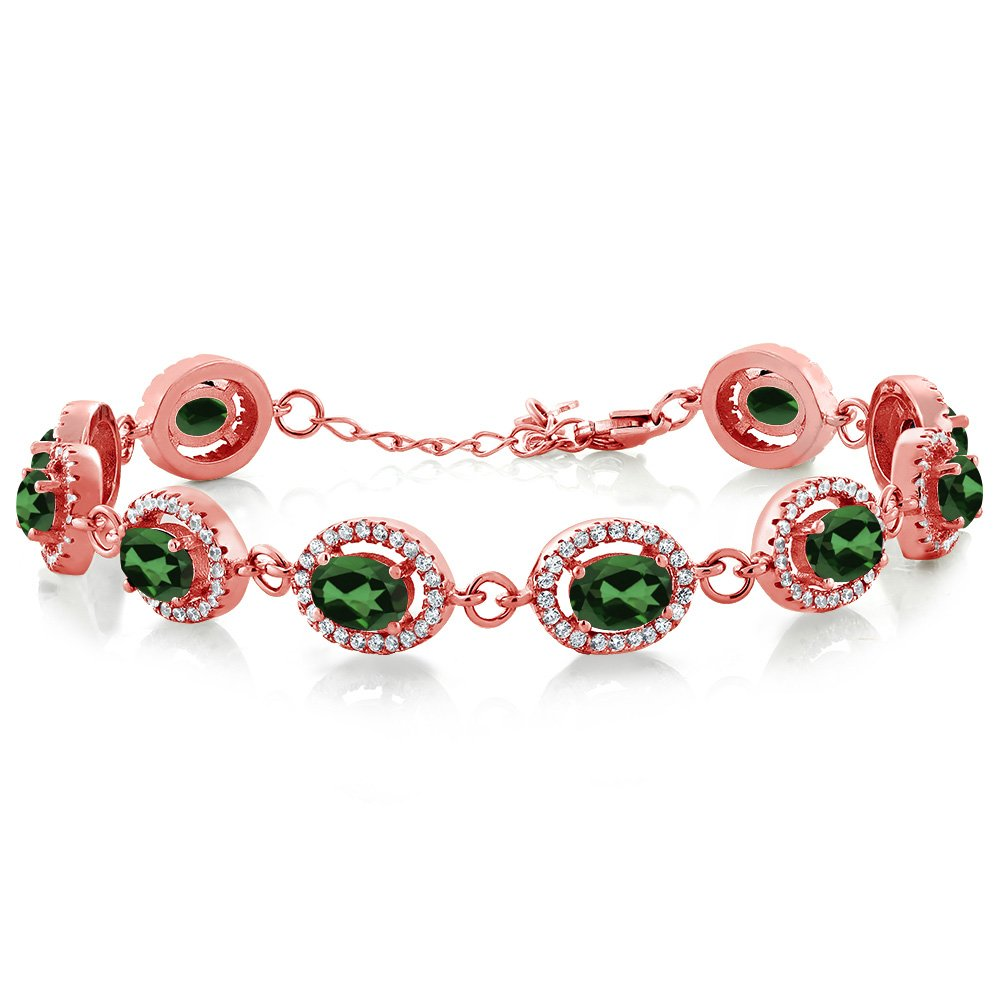 """11.88 Ct Oval Red Created Ruby 18K Yellow Gold Plated Silver 7.5/"""" Bracelet"""