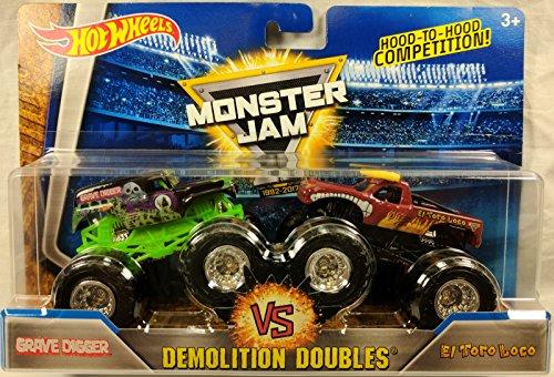 Monster Truck Grave Digger (2017 Hot Wheels Monster Jam Demolition Doubles - Grave Digger Vs. El Toro Loco 1:64 Scale)
