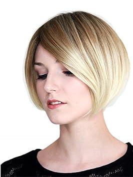 Prettyland Cheveux Courts Ombre Marron Blonde Dégradé Bob Coupe Perruque à Gradins Lisse C861