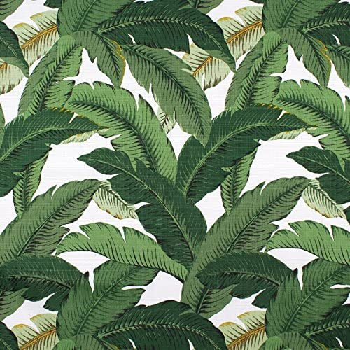 Set of 4 Indoor Outdoor Decorative Lumbar Rectangle Pillows – 2 Made with Tommy Bahama Swaying Palms Aloe Green Tropical Palm Leaf Fabric and 2 Black and White Stripe Fabric