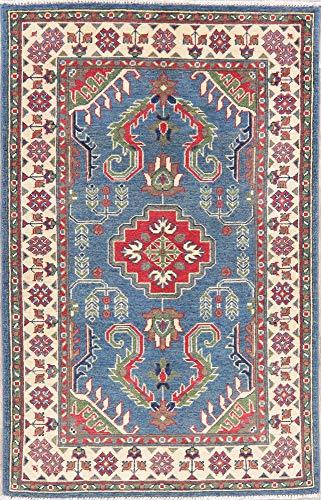 Blue Oriental Kazak Area Rug Hand-Knotted Geometric Wool Persian Carpet 3 x5 New (4' 10'' X 3' 2'')