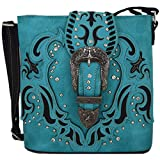 Western Style Small Crossbody Cell Phone Purse Messenger Bags Mini Shoulder Bags Wallet (Turquoise)