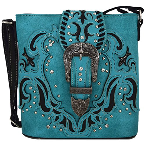 Price comparison product image Western Style Small Crossbody Cell Phone Purse Messenger Bags Mini Shoulder Bags Wallet (Turquoise)