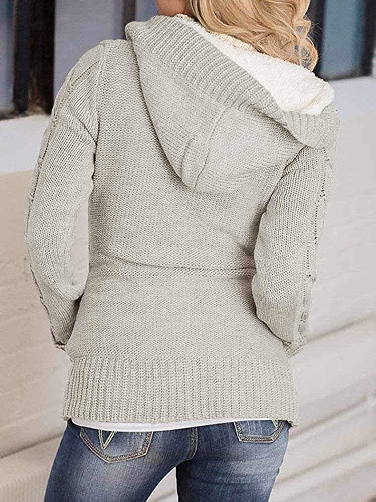 Yacooh Womens Cardigan Sweaters Cable Knit Open Front Hooded Button Down  Sweater Coat 81dd35af7