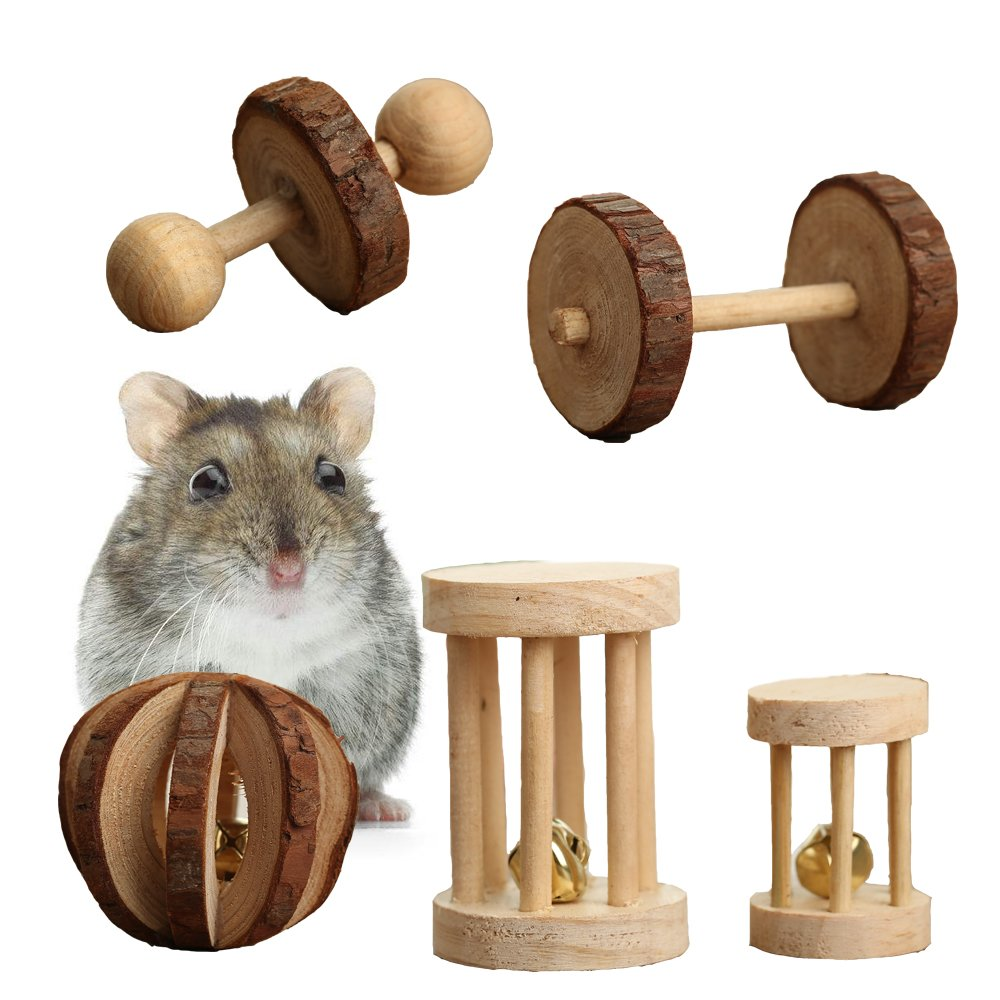 Pevor Pack of 5 Hamster Chew Toys Natural Wooden Pine Dumberls Esercizio Bell Roller Teeth Care Molar Toy for Rabbits Rat Guinea Pig and oth Small Animals Play Toy