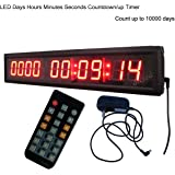 """Ledigtal LED Days Countdown Clock Red Color 1.8"""" 10 Digits Count up to 10000 Days with Hours Minutes Seconds LED Large Digital Countdown Clock IR Remote Control Aluminum Case"""
