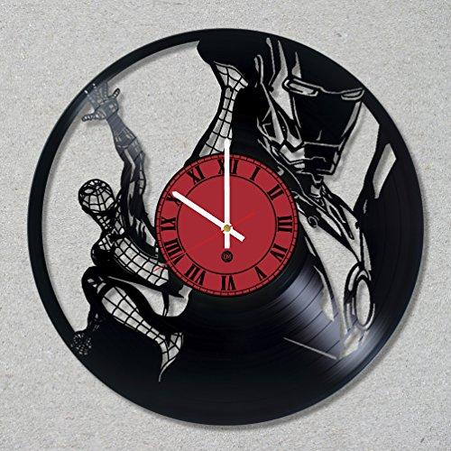 [Vinyl Record Wall Clock Spider Man Peter Iron Stark Tony Superhero Parker decor unique gift ideas for friends him her boys girls World Art Design …] (Spider Man 2099 Costume Design)