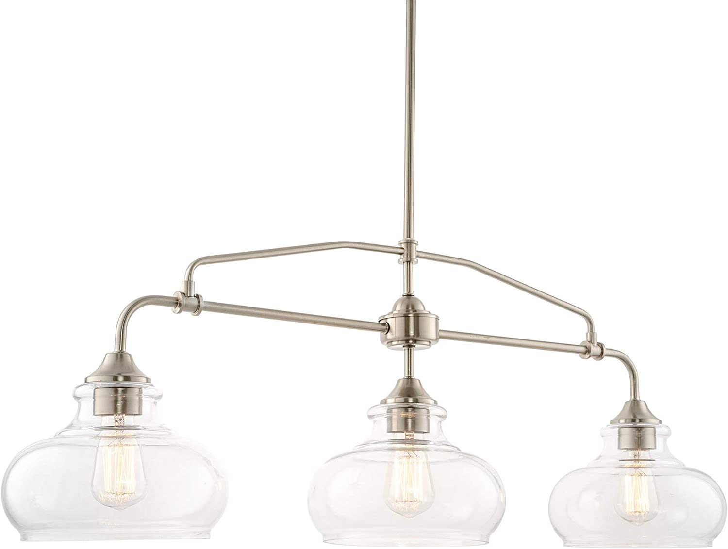 "Kira Home Harlow 37.5"" Modern Industrial Farmhouse/Schoolhouse 3-Light Island Light with Clear Glass Shades, Adjustable Hanging Height, Brushed Nickel Finish"